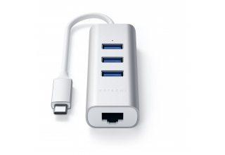 Адаптер Satechi TYPE-C 2-IN-1 USB 3.0 ALUMINUM 3 PORT HUB AND ETHERNET PORT, серебристый