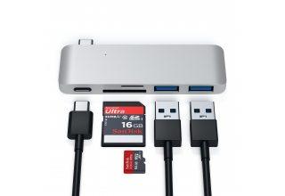 Адаптер Satechi TYPE-C PASS-THROUGH USB HUB WITH USB-C CHARGING PORT, серебристый