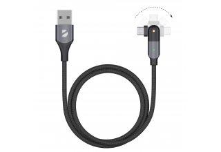Кабель Deppa USB-A - micro USB, поворотный, 180˚, чёрный