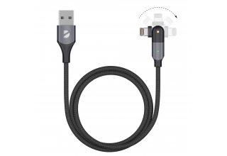 Кабель Deppa USB-A - Lightning, поворотный, 180˚, чёрный