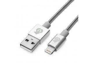 DC06SL01-L, кабель зарядный, стальная оплётка, размер 1,2м., цвет серебро