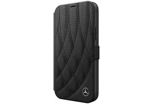 Чехол Mercedes для iPhone 12 Pro Max (6.7) Genuine leather Bow Quilted/perforated Booktype Black