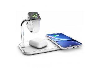 Беспроводное зарядное устройство ZENS Aluminium Dual Wireless Charger + Dock + Watch 10W. Цвет белый