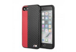 Чехол BMW для iPhone 7/8/SE2 Smooth/Carbon effect PU Hard Red