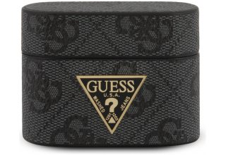 Чехол Guess для Airpods Pro 4G PU leather case with metal logo Grey