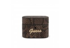 Чехол Guess для Airpods Pro Python PU leather case with metal logo Brown