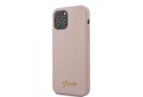 Чехол Guess для iPhone 12/12 Pro (6.1) Liquid silicone Gold metal logo Hard Pink