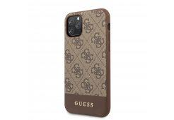 Чехол Guess для iPhone 12/12 Pro (6.1) PU 4G Stripe Metal logo Hard Brown