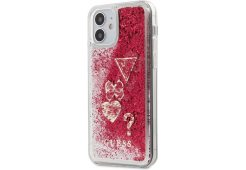 Чехол Guess для iPhone 12 mini (5.4) Liquid Glitter Charms Hard Raspberry