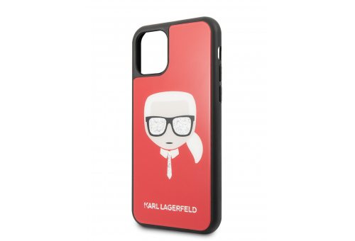 Чехол Lagerfeld для iPhone 11 Pro Double Layer Karl's Head Hard Glass Red