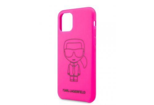 Чехол Lagerfeld для iPhone 11 Pro Liquid silicone Ikonik outlines Hard Pink/Black