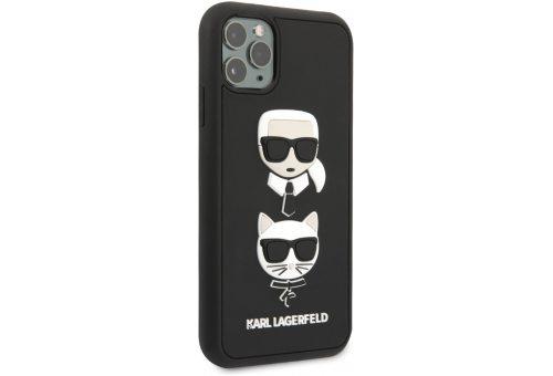 Чехол Lagerfeld для iPhone 11 Pro Max 3D Rubber Karl and Choupette Hard Black