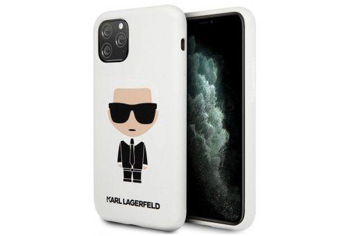 Чехол Lagerfeld для iPhone 11 Pro Max Liquid silicone Iconic Karl Hard White