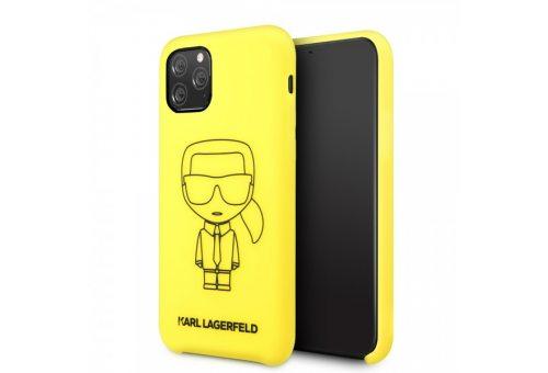 Чехол Lagerfeld для iPhone 11 Pro Max Liquid silicone Ikonik outlines Hard Yellow/Black