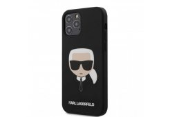 Чехол Lagerfeld для iPhone 12/12 Pro (6.1) Liquid silicone Karl's Head Hard Black