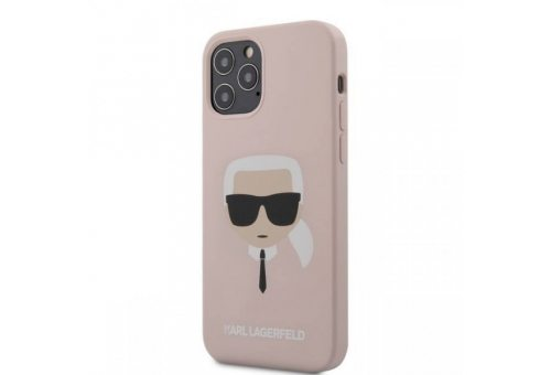 Чехол Lagerfeld для iPhone 12/12 Pro (6.1) Liquid silicone Karl's Head Hard Pink