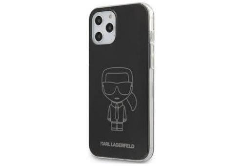 Чехол Lagerfeld для iPhone 12/12 Pro (6.1) PC/TPU Ikonik outlines Metallic eff Hard Black