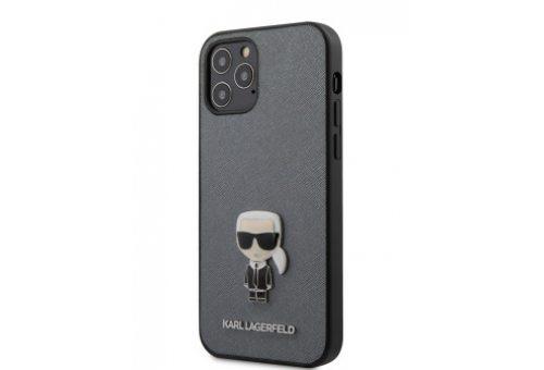 Чехол Lagerfeld для iPhone 12/12 Pro (6.1) PU Saffiano Ikonik Karl (metal) Hard Silver
