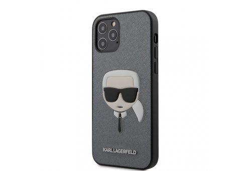 Чехол Lagerfeld для iPhone 12/12 Pro (6.1) PU Saffiano Karl's Head Hard Silver