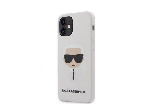Чехол Lagerfeld для iPhone 12 mini (5.4) Liquid silicone Karl's Head Hard White