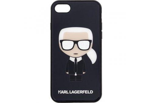Чехол Lagerfeld для iPhone 7/8 Liquid silicone Iconic Karl Hard Black
