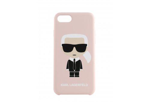 Чехол Lagerfeld для iPhone 7/8 Liquid silicone Iconic Karl Hard Light pink