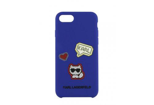 Чехол Lagerfeld для iPhone 7/8 Liquid silicone Pixel Choupette Hard Blue