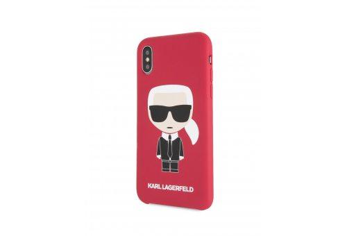 Чехол Lagerfeld для iPhone X/XS Liquid silicone Iconic Karl Hard Red