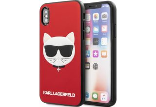 Чехол Lagerfeld для iPhone X/XS PU Leather Choupette Hard Glitter Red