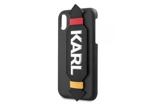 Чехол Lagerfeld для iPhone X/XS PU Leather with strap Karl logo Hard Black