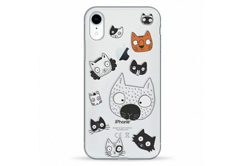 Чехол Pump Transparency Case for iPhone XR Cats Faces