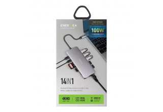 EnergEA Разветвитель AluHUB HD MAX 14-in-1 Superspeed Aluminium USB-C 3.1 Gunmetal