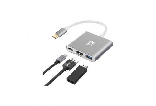 Хаб XtremeMac Type-C Hub Multiport. Интерфейс USB Type-C. Порты: USB 3.0, HDMI, USB Type-C. Цвет сер