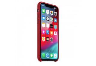 Чехол Apple Leather Case для iPhone XS, (PRODUCT)RED
