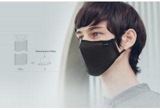 Многоразовая маска Moshi OmniGuard Mask c фильтрами Nanohedron. Размер: M. Цвет: черный.