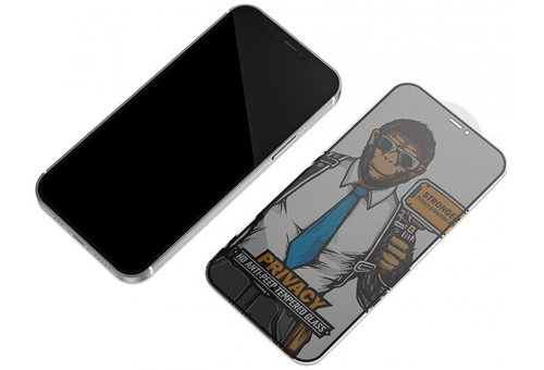 Стекло BlueO 2.5D Silk full cover Anti-peep (с рамкой приватное) для iPhone 12/12 Pro, 0.26 Black