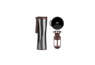 Термокружка KissKissFish MOKA Smart Coffee Tumbler (серый, индикатор температуры, заварник)