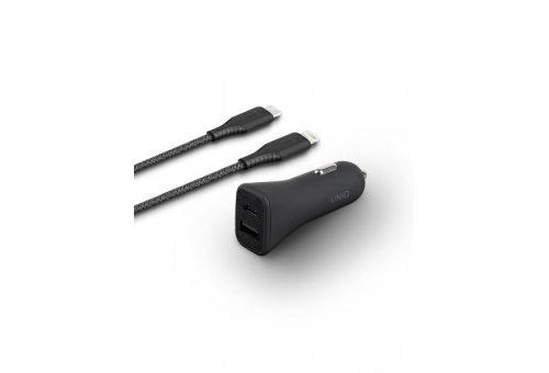 Uniq АЗУ Votra Duo P30 USB-C PD 18W +USB-A +кабель USB-C-Lightning MFI Black