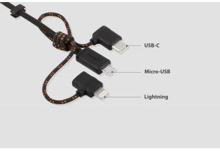 Универсальный зарядный кабель 3 в 1 Moshi Universal Cable. Разъемы Lightning, USB-C и Micro USB. Дли