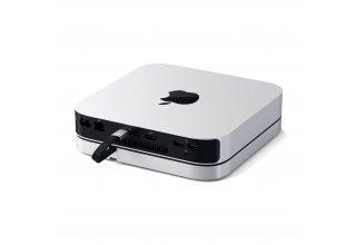 USB док станция с подставкой Satechi Mac Mini Stand & Hub для Mac Mini. Цвет серебристый