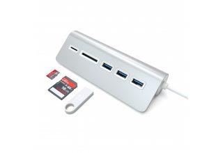USB-хаб и кардридер Satechi Aluminum USB 3.0 Hub & Card Reader. Цвет серебряный. Satechi ST-3HCRS ST-3HCRS