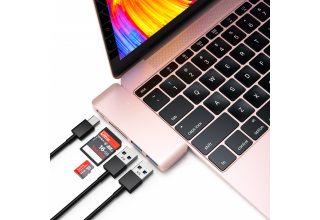 "USB-хаб Satechi Type-C USB 3.0 Passthrough Hub для Macbook 12"". Цвет розовое золото."