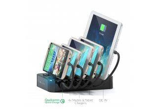 Зарядная док-станция Satechi 5-Port USB Charging Station Dock для мобильных устройств. Цвет черный.
