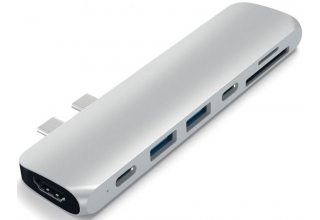 USB-хаб Satechi Aluminum Pro Hub для Macbook Pro (USB-C). Цвет серебряный.