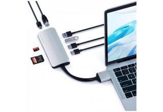 USB-хаб Satechi Type-C Dual Multimedia Adapter для Macbook с двумя портами USB-C. Цвет серебряный.