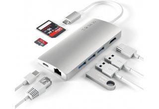 USB-концентратор Satechi Aluminum Multi-Port Adapter V2. Цвет серебряный.
