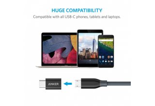 Разветвитель Anker Powerline USB-C to Micro USB Female Adapter Black*2