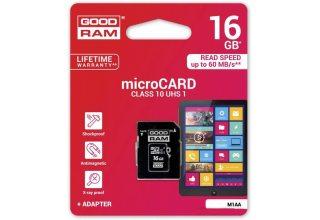 Карта флэш памяти 16GB GOODRAM M1AA-0160R12; microSD Class 10 UHS I + adapter