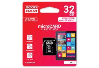 Карта памяти GOODRAM M1AA-0320R12; 32GB MICRO CARD class 10 UHS I + adapter