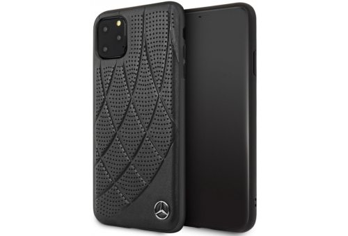 Чехол Mercedes для iPhone 11 Pro Max Bow Quilted/perforated Hard Leather Black